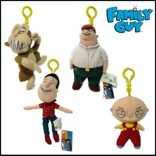 FAMILY GUY PLUSH CLIP BACKPACK NOVELTY GIFT PETER STEWIE QUAGMIRE