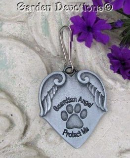 GUARDIAN ANGEL PROTECT ME Wings Pet Medal Paw Print CAT OR DOG