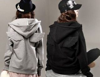 Girl Cute Back Angel Wings Zip Up Leisure Sweatshirt Fleece Hoodie