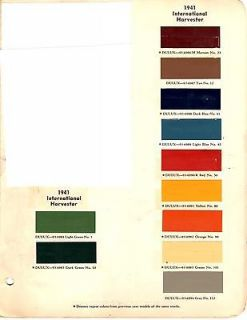 1939 1940 1941 1942 1946 1947 1954 INTERNATIONAL TRUCK PAINT CHIPS