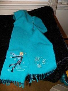 Pretty Anne Klein Aqua Blue Wool Blend Winter Skating Scarf   Snow