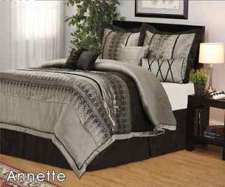 pcs Queen Annette Gray Black Bedding Comforter Set