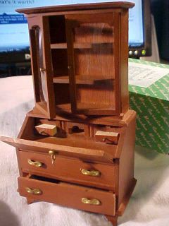 VINTAGE MINIATURE DOLLHOUSE NOS HARDWOOD HUTCH SECRETARY DESK