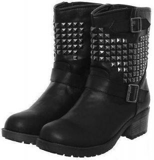 LADIES STUDDED MILITARY COMBAT BIKER RIDING BUCKLE WINTER ANKLE BOOTS