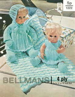 VINTAGE DOLLS CLOTHES PATTERN 12 & 16 DOLLS   FITS BABY BORN