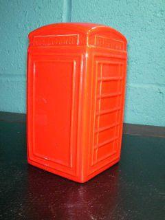 Vintage 1980 COIN BANK Red Ceramic England English British Telephone