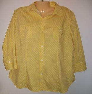 CHICOS YELLOW POLKA DOT WOMEN SHIRT Sz [ 2 M 12 14 ] FRONT BUTTONED