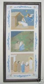 HOSANNA Nativity Cross Stitch Linen Flowers Christmas
