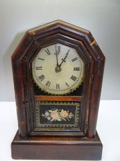 Working Wooden New Haven Clock Co 8 Day Striking Pendulum Mantle Clock