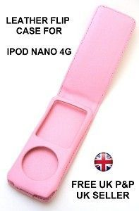 Leather Flip Case Cover for Apple iPod Nano 4G PINK UK
