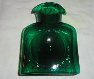 DARK GREEN BLENKO GLASS WATER BOTTLE DOUBLE SPOUT AND DIMPLE