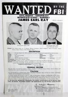 1968 Original James Earl Ray FBI Wanted Poster Martin Luther King Jr