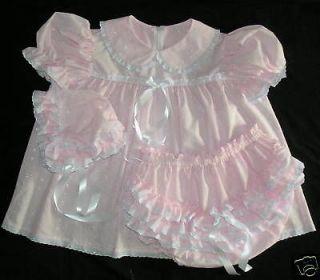 ADULT SISSY EYELET BABY 3PC DRESS SET light pink