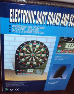 ELECTRONIC DART BOARD & SCORER 4 PLAYER SCORING NEW IN BOX