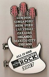Cafe 2007 Ambassadors of Rock VIP PIN Rare Triple Neck Guitar #42090