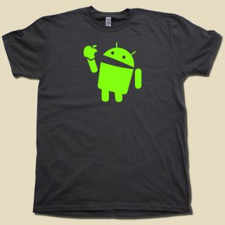 Android eats Apple t shirt FUNNY nerd computer geek tee