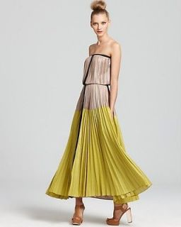 BCBG Max Azria Lilyan Pleated Colorblocked Strapless Maxi Dress Gown