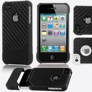 Black TPU Carbon Fiber Hybrid Case Soft&Hard Cover for Apple Iphone 4