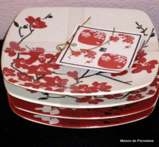 222 Fifth MIA RED and White Appetizer Plates