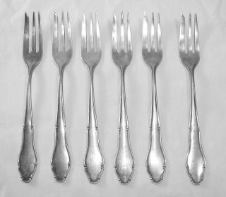 Set 6 Antique German .800 Silver Desert/Cake/Pa stry Forks, Germany