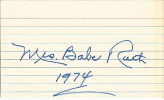 CLAIRE MRS. BABE RUTH JSA SIGNED INDEX CARD AUTOGRAPHED BY BABES