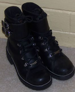 Black Leather ~ HARLEY DAVIDSON ~ Tall Motorcycle Riding BOOTS Womens