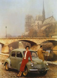 NOTRE DAME Cathedral Citroen Car Paris Travel Vintage Poster Repo FREE