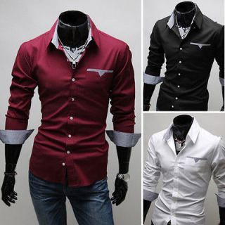 US CC6079 New Mens Fashion Luxury Casual Slim Fit Stylish Dress Shirts