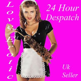 French Maids Rubber Latex Dress With Apron and Head Piece 10 12 24