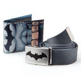 Superhero Mens Web Belt and Wallet Set   Batman, Avengers or Superman