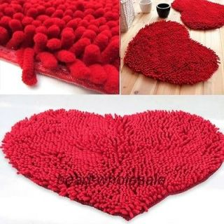 Fluffy Rug Floor Bedroom/Door/B ath mat Red Love Heart Chenille Carpet