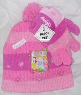 NWT Girls Disney Princess Cinderella Belle Sleeping Beauty Hat Gloves
