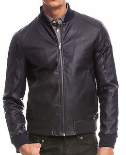 Armani Exchange AX Mens Faux Leather Bomber Jacket/Coat Size L