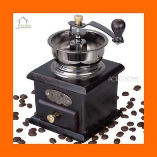 Newly listed Brass Wood Mini Coffee Shop Beans Grinder Mill Dark Brown