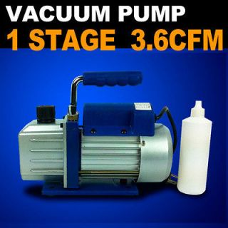 Stage 1/4HP Vacuum Pump 3 3.6 CFM Rotary Vane Deep HVAC Tool AC