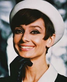 AUDREY HEPBURN SMILING 1960S POSE IN WHITE HAT AND BLACK GLOVES 24X30