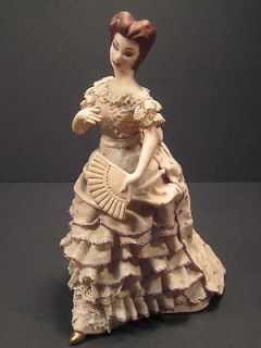 Vintage Victorian Woman Lady Figurine Lacey w/Fan Signed Ceramic