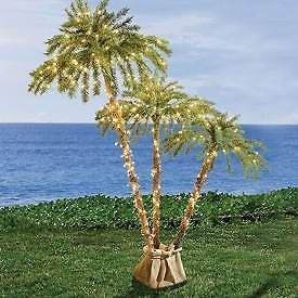 LIGHTED 6 FOOT 3 BRANCH 450 LIGHTS OUTDOOR ARTIFICIAL PALM TREE
