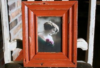 Wood Picture frame   4 x 6    Burnt Orange Colored Paint    A3