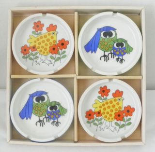 NIB Vintage Retro Fitz & Floyd Ashtrays Owls and Chickens Set of 4