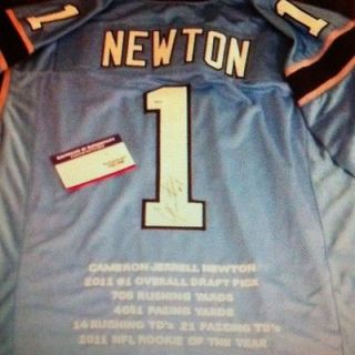 NEW CAM NEWTON ROY STAT Auto Signed Jersey /10 PSA/DNA Panthers Rc