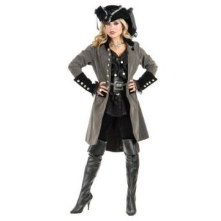 Pirate Vixen Coat Two Tone Gun Metal Grey Black Dress Up Halloween