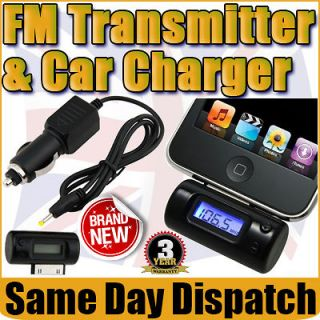 FM Stereo music Radio Transmitter Adapter +Car Charger iPod iPhone 4G