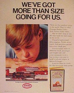 1968 Aurora Postage Stamp Trains~Railroa d Model Set Micro~N~Scale Toy