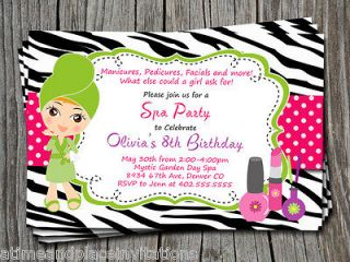 Spa Day Pink and Black Zebra Print Birthday Party Invitations cards