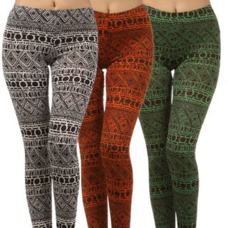 Tribal Print Leggings Fashion Trend Aztec Stretch Full Length Ladies