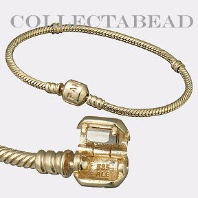 Newly listed Authentic Pandora 14kt Gold Bracelet With14kt Lock 7.1
