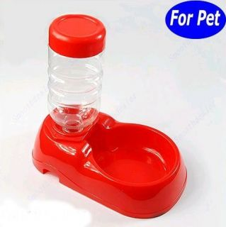 Pet Dog Cat Automatic Water Dispenser Food Dish Bowl Feeder Red New