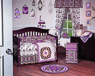 Baby Girl Nursery Bedding Set 5 Quilt Bumper Mobile Butterflies Purple
