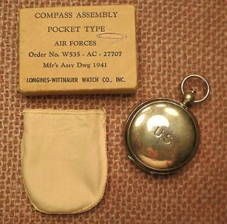 VINTAGE WWII (WW2) LONGINES WITTNAUER ARMY AIR FORCE COMPASS w/ Box